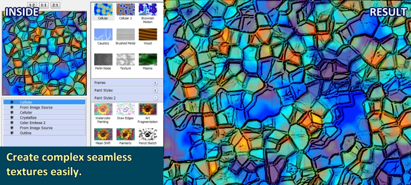 Create complex seamless textures easily.