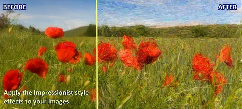 Apply the Impressionist style effects to your images.